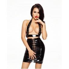 Лакированная юбка со шнуровкой D&A Черная XS-S