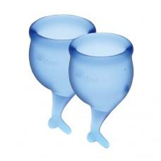 Набор менструальных чаш Satisfyer Feel Secure Синие 15мл и 20мл мешочек для хранения