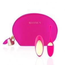 Виброяйцо Rianne S: Pulsy Playball Розовое с вибрирующим пультом Д/У, косметичка-чехол